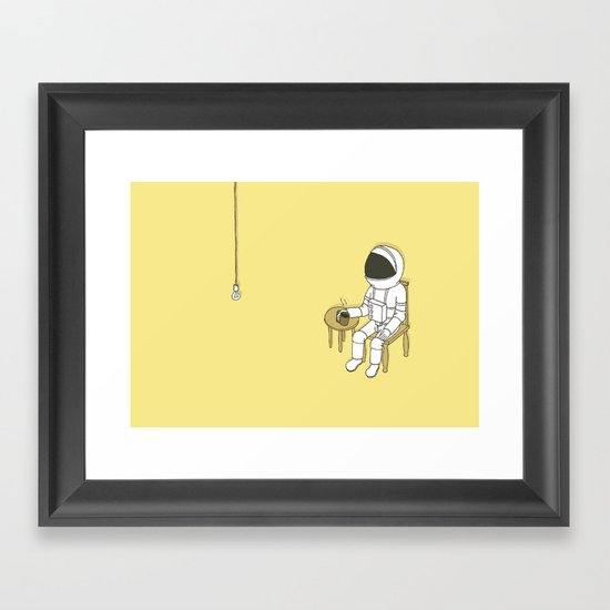 Spaceman waiting Framed Art Print