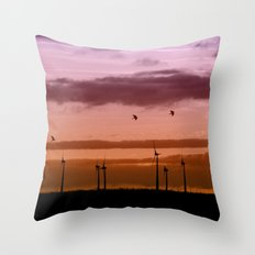 Wind power plant at dawn Throw Pillow