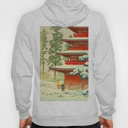 Vintage Japanese Woodblock Print Japanese Shinto Shrine Red Pagoda With Snow Capped Trees Hoody