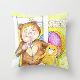 Teddybear tea-time Throw Pillow