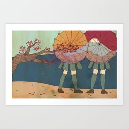 Japanese Umbrellas and Mt. Fuji  Art Print