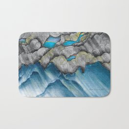 Mountain Landscape: abstract clouds illustration - Nature art - landscape drawing - pen drawing Bath Mat