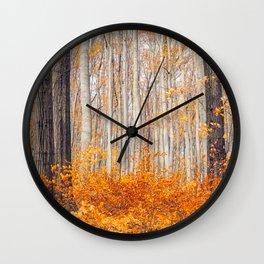 orange autumn Wall Clock