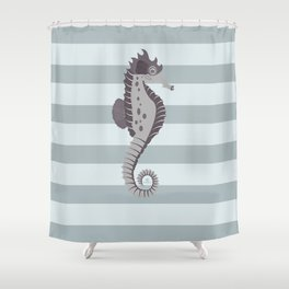 AFE Grey Nautical Seahorse Shower Curtain
