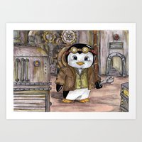 engineer Art Prints featuring Penguin Engineer by Tanya Davis Art