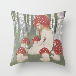 MOTHER MUSHROOM WITH HER CHILDREN - EDWARD OKUN Throw Pillow
