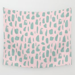 Handdrawn mint drops and dots on pink - Mix & Match with Simplicty of life Wall Tapestry