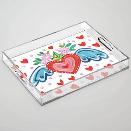Valentine Heart with Wings Acrylic Tray