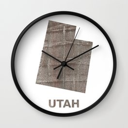 Utah map outline Gray hand-drawn wash drawing Wall Clock