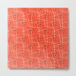 Black Starbursts on Orange Mid-Century Modern Metal Print