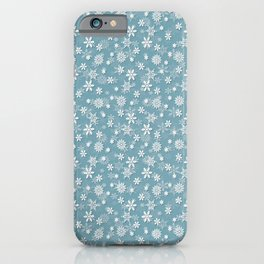 Christmas Icy Blue Velvet Snow Flakes iPhone Case