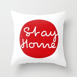 Stay home - Red Dot Works  Throw Pillow