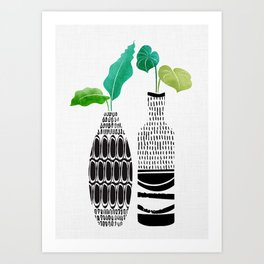 Tribal Vases II with Tropical Greenery Art Print