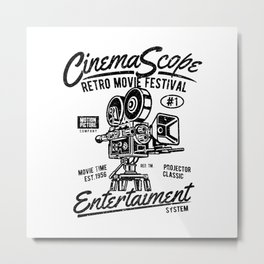 Old movie camera, retro movie festival, for film fans Metal Print