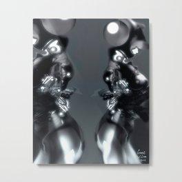 Silver Art Lines [Digital Figure Illustration] Metal Print