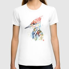 Woodpecker Colorful Watercolor Bird Painting T-shirt