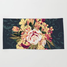 Roses and lilac. Beautiful victorian design on blue Beach Towel