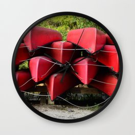 Red Canoes Wall Clock