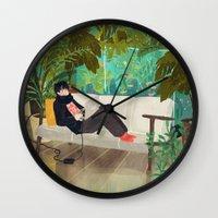jungle Wall Clocks featuring jungle by Lara Paulussen