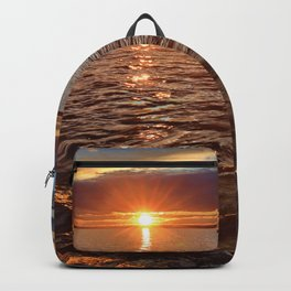 Sunset over the lake Backpack