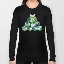Tropical Cubic Effect Banana Leaves Design Long Sleeve T-shirt