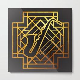 Art Deco Saxofon Metal Print