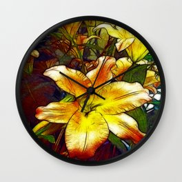 Lily Flower Sketch Wall Clock