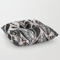 Calathea black & grey leaves with pale background Floor Pillow