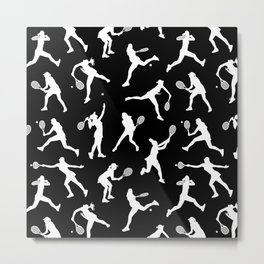 Tennis Players // Black Metal Print