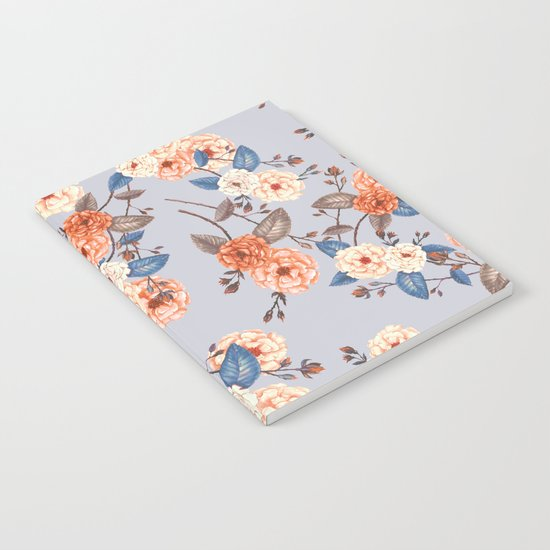 Roses, Auburn and Dove Grey Notebook