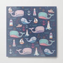 Whale Toss Metal Print