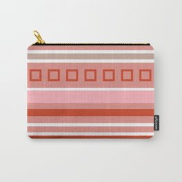 Simple red geometric pattern of squares and stripes Carry-All Pouch