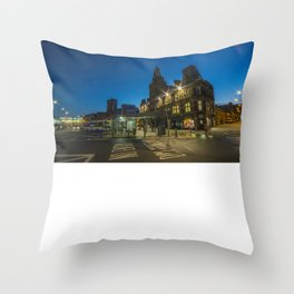 Newport Bus station at night Throw Pillow