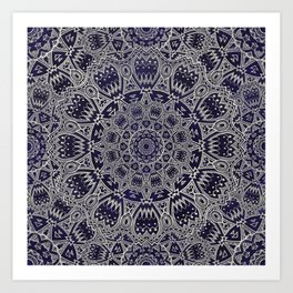 Cream Colored Mandala in Dark Blue Background Art Print
