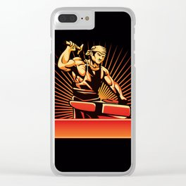 blacksmith worker with sledgehammer Clear iPhone Case