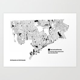 Map: Detroit Non-Local Land Ownership Art Print
