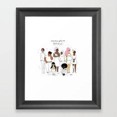 Anxious Ladies Framed Art Print