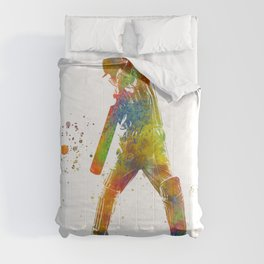 Cricket player in watercolor Comforters