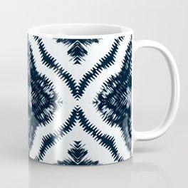 Arabesque Ink Tie Dye Shibori Black White Dark Teal Indigo Coffee Mug