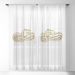 Colombian Sombrero Vueltiao in Gold Leaf Style Sheer Curtain