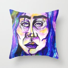 Purple Portrait Of A Woman Surreal Pastel Blue Sadness Frida Kahlo Throw Pillow