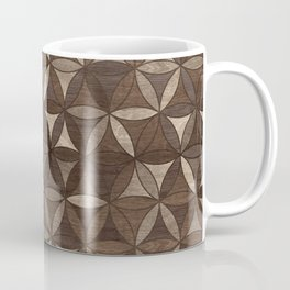 Flower of life pattern - Wooden Texture Coffee Mug