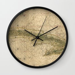 1639 Vintage Map of Cuba Wall Clock