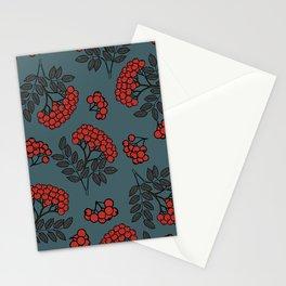 Red rowan on a dark grey background Stationery Cards