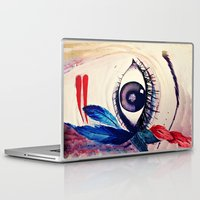 native american Laptop & iPad Skins featuring native american eye by RenataV