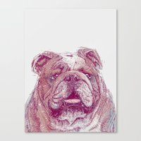 bulldog Canvas Prints featuring Bulldog by Ahmad Mujib