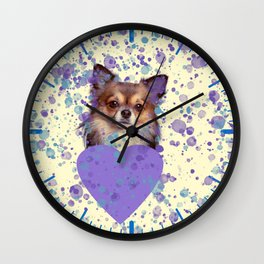 Watercolor Ultra Violet Splattering Dog Lovers Wall Clock