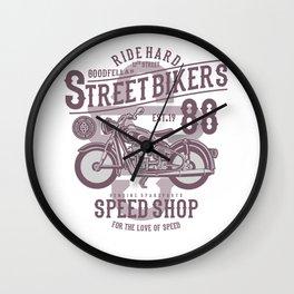 Street Bikers Wall Clock