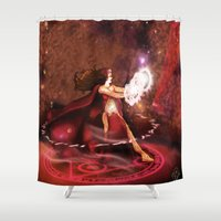 supreme Shower Curtains featuring Scarlet Witch Sorceress Supreme by RebeccaMiller