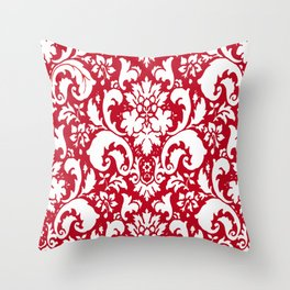 Paisley Damask Red and White Pattern Throw Pillow